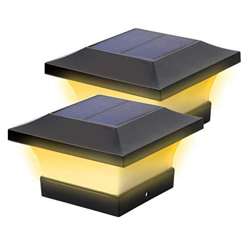 2 pezzi Lampada a Colonna, Luci da Pilastro Solare, impermeabili Giardino Lampada, Hpory Luci Post Solar Post Light, Luci Esterne per Recinzioni,Giard