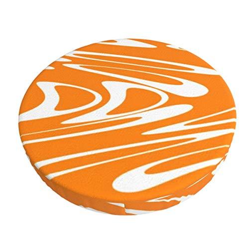 Fundas de taburete, diseño retro de color naranja y blanco, súper transpirable, elástico, para silla de asiento suave, para taburete de 33 cm.