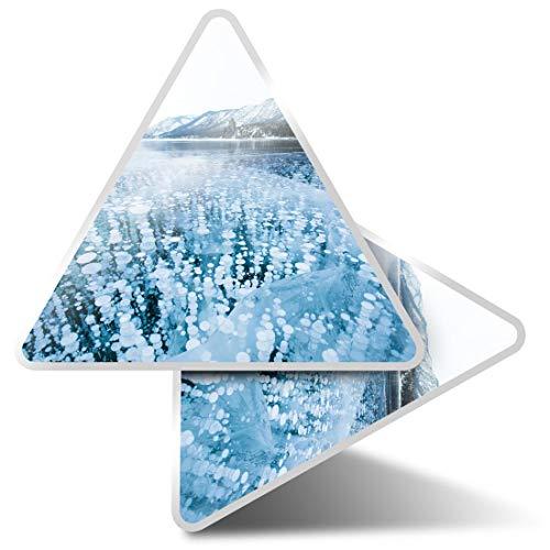 2 pegatinas triangulares de 10 cm – Frozen Lake Metthane Gas Fun Calcomanías para ordenadores portátiles, tabletas, equipaje, reserva de chatarra, neveras #3290