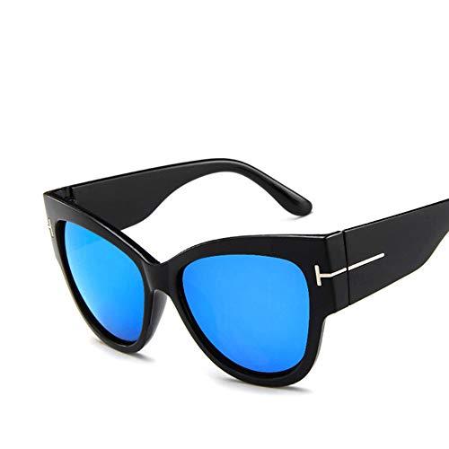 WPHH Gafas De Sol Tipo Ojo De Gato Extragrandes Vintage para Mujer Gafas De Sol Negras Grandes Gafas con Degradado Sexy De Lujo para Mujer UV400,Azul