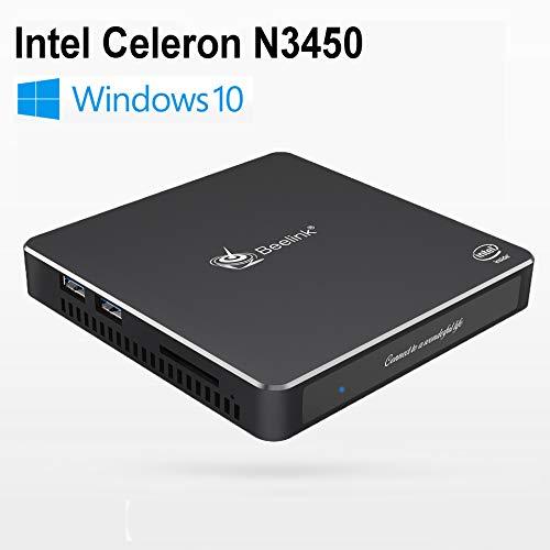 Beelink T34 Mini PC, Intel Celeron N3450 Procesador (up to 2.20GHz) Windows 10, Mini Ordenadores de sobremesa con 8G RAM + 128G SSD Soporte Dual HDMI/Dual WiFi/BT 4.0/Gigabit Ethernet/SATA