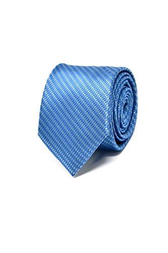 Oxford Collection Hochwertige Gestreifte Blaue Krawatte für Herren - 100% Seide - Klassisch, Elegant und Modern - (Ideal für ein Geschenk, Männer zum Geburtstag, eine Hochzeit, bei der Arbeit.)