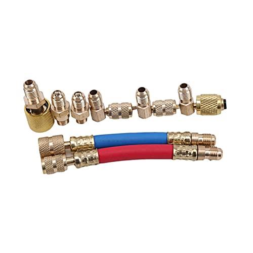 QWHK Store Adaptador de refrigerante Conector de flúor Conector multifuncional Conector de aire acondicionado Conector de accesorios para coche (Nombre del color: oro)