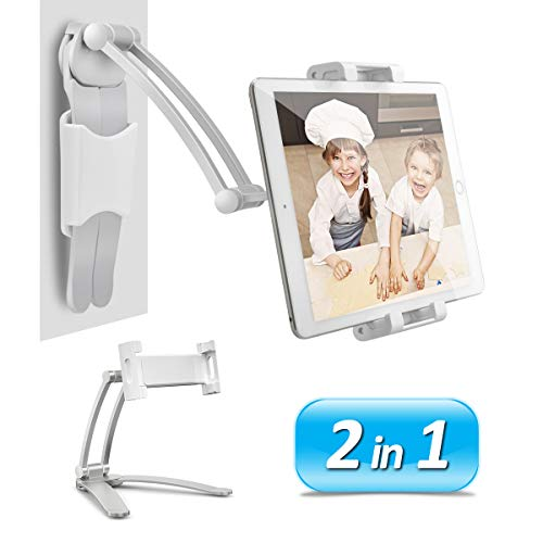 AYADA Kitchen Cabinet Tablet Holder, 2 in 1 Wall Mount Desktop Stand for ipad 12.9 Aluminum Alloy Metal Adjustable Multiangle Foldable Universal Phone Tablet Bracket Cooking Table Counter Top (Silver)