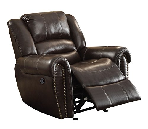 Homelegance 9668BRW-1PW Power Reclining Bonded Leather Traditional Chair with Accentuated Nail Headed Arm Rest, Brown