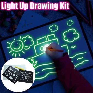 Hiqusc - Dibujo con luz, Juguete de Desarrollo Divertido para Dibujar y Dibujar, Tabla de Dibujo, portátil, para niños