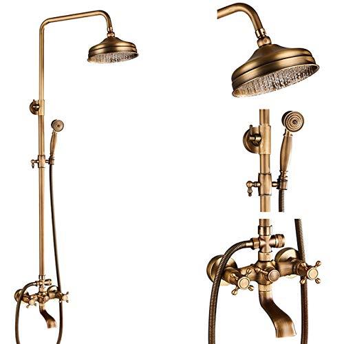Antike Messing Duscharmaturen Set 8 '' Rainfall Shower Commodity Shelf Doppelgriff Mixer Tap Schwenkbare Badewanne...