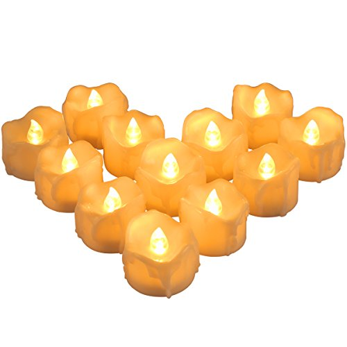 ORIA Flammenlose LED Kerzen, 12er Batterie Teelichter mit 6 Stunden Timer Funktion, Flackerndn Tealight Candles für Wohnaccessoires, Weihnachten, Hochzeit, Partys, etc – Warmeweiße/Tränen Tropfen