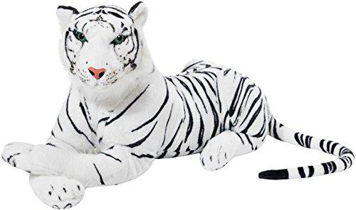 BRUBAKER Peluche Tigre 75 cm Juguete Suave - Acostado Juguetes de Peluche - Blanco