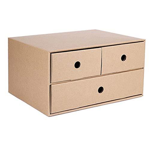 Caja de almacenamiento de escritorio, organizador de escritorio con cajones, papel Kraft ensamblado, adecuado para documentos, libros, control remoto, etc.