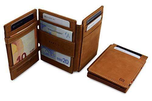 Garzini Geräumiger Intelligenter Magischer Geldbeutel aus echtem Leder mit RFID-Blocker und Ausweisfenster für Männer