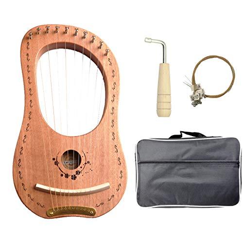Lyre Harp, 16 Metal String Mahogany Plywood Body String Instrument