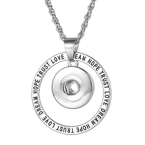 U/D Nuevo Collar de joyería a presión Metal búho Flor ala de ángel 18 mm Broche de presión Collar de Mujer Broche de presión Colgante Collar Fiesta