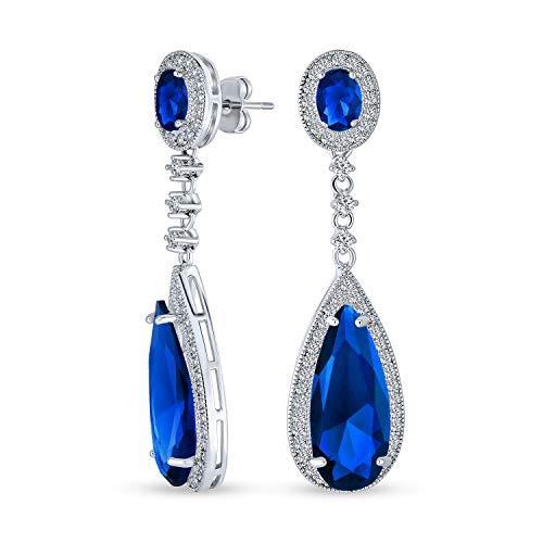 Blaue Teardrop Kubische Zirkonia Baumeln Kronleuchter Prom Pageant Statement Ohrringe Simuliert Saphir Silber Vergoldet Messing