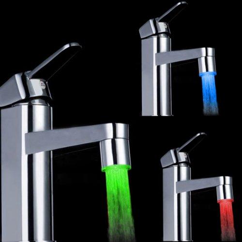 Bluelover 7 Farbdisplay Verändernden LED Wasserhahn Farbwechsel Wasser WasserhahnLicht Silber - 9