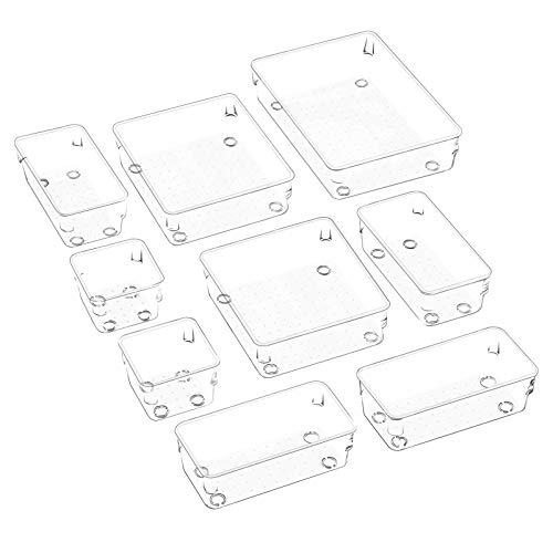 JARLINK 9 Pack Desk Drawer Organizer Trays with 4 Different Sizes Versatile Clear Drawer Organizers Storage for Bathroom Makeup Bedroom Kitchen Office Supplies Craft