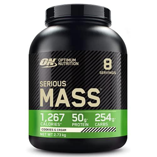 Optimum Nutrition ON Serious Mass Hochkalorisches Weight Gainer Protein Pulver, Whey Protein, Vitamine, Kreatin und Glutamin, Cookies & Cream, 8 Portionen, 2.73kg, Verpackung kann Variieren