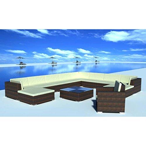 Nishore 12-TLG. Garten Lounge Set mit Auflagen Rattan-Lounge Esstisch Gartenmöbel-Set Sofa Garnitur Couch-Eck Outdoor Polsterstärke: 6 cm - 3