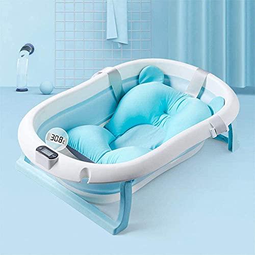 SETSCZY Bañera para Bebé con Termómetro, Bañera para Bebé Recién Nacido con Alfombrilla Antideslizante, Bañera Plegable Y Almacenamiento,Azul