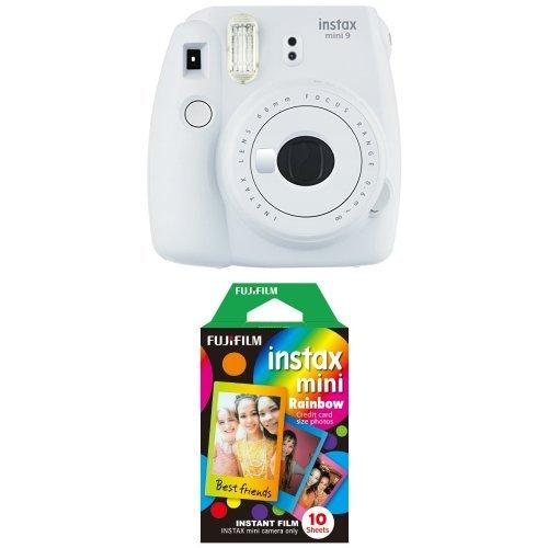 Fujifilm Instax Mini 9 Kamera smoky weiß mit Rainbow Film