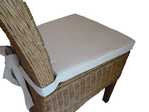 Schleife mit Kissen Hochwertiges Baumwolle Korbweide stuhlkissen/Gartenstuhl Kissen Sitzkissen 44 x 40 x 5 cm (Ecru)