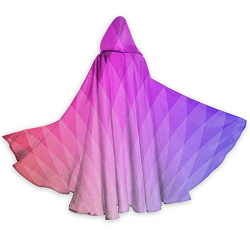 OTTOPT Rainbow Panchromatic Peacock Flaunting Tail Halloween Hooded Cape Cloak Unisex Full Length Hooded Cloak Party Costume Robe Cosplay Cape with Hat