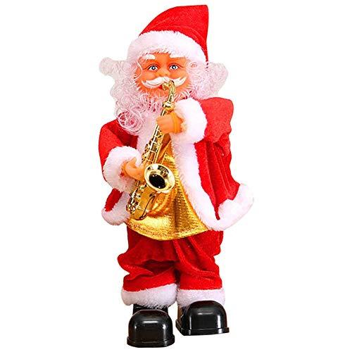 Klinkamz Niedlicher Weihnachtsmann tanzend singend Musik Spielzeug Plüsch Weihnachten Puppen Elektrisches Spielzeug Saxophon Gitarre Saxophone