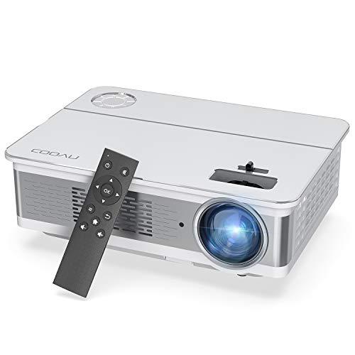 COOAU プロジェクター 6500lm 1080Pリアル解像度家庭用 スマホ対応 HIFIスピーカー内蔵 LED ホームプロジェクター 300インチ 台形補正 HDMI AV USB VGAパソコン スマホ TV Stick PS3 PS4 DVDプレイヤー接続可 AV HDMIケーブル付属