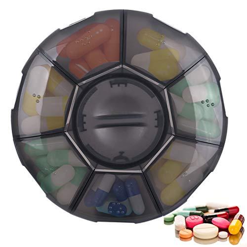 Portapillole Giornaliero, per Vitamine Oli di Pesce, Medicina, Palestra, Viaggio, portapillole con braille per non vedenti - Grigio