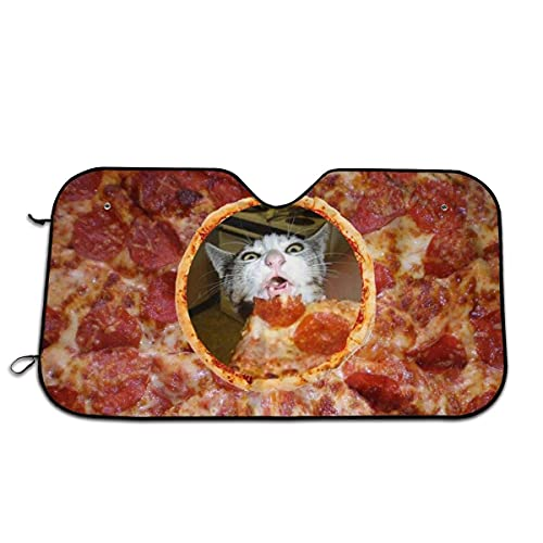 Parabrisas de Coche Parasol Pizza Gato Lindo Animal Fresco Kitty Parasol de Coche Bloques Rayos UV Protector de Visera para Mantener el vehículo Fresco