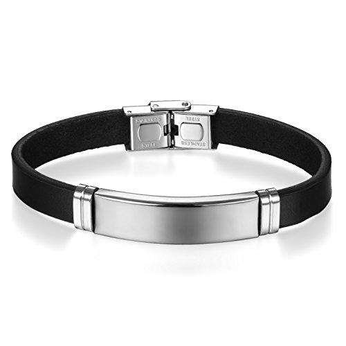 JewelryWe Schmuck Leder Armband Armreif mit Silber Edelstahl Hochglanz Poliert Gravurplatte Lederarmband für Herren Damen