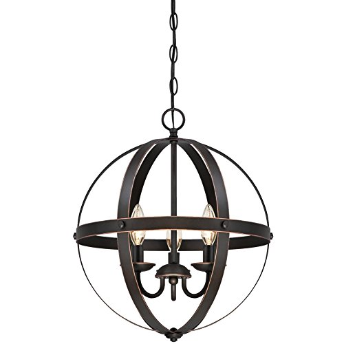 Westinghouse Lighting 6341800 Stella Mira Three-Light Pendant, Oil Rubbed Bronze Finish with Highlights