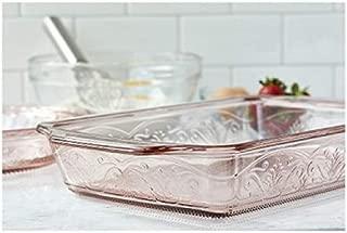 Anchor Hocking 4-Piece Laurel Embossed Rosewater Bake and Serve Set