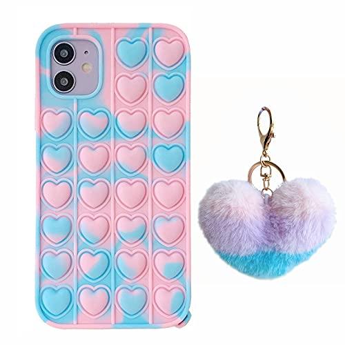XYOUNG Funda para Samsung Galaxy A51 5G/4G (6,5 pulgadas), empuje la burbuja sensorial Fidget Toy Case Liberar la tensión Protección contra el estrés con soporte, azul corazón