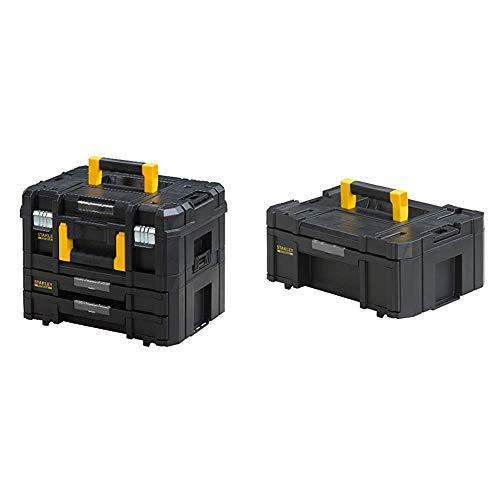 Stanley FatMax Werkzeugkoffer (21,5L Fassungsvermögen, mit 2 Schubladen und Organizern für Kleinteile) FMST1-71981 & Kommode mit Schublade hoch, FMST1-71968