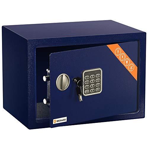 Brihard Family Tresor Safe mit Elektronischem Schloss, 25x35x25cm (HxWxD), Marine Blau