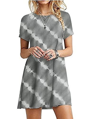 SLYZ European and American Summer Ladies Fashion Round Neck Short Sleeve Loose Comfortable Tie-dye Dress Gray
