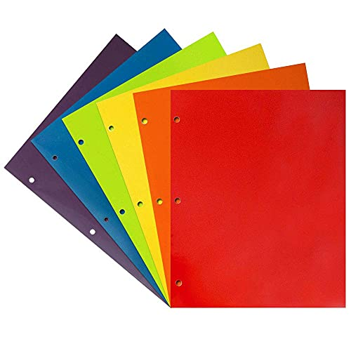 JAM PAPER Laminated Two Pocket Glossy 3 Hole Punch School Folders - Letter Size - High Gloss Assorted Primary Colors - 6/Pack