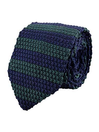 Hombres Corbata de Punto Corbata Tricot con un Ancho de 7cm Narrow Tie Retro Sporty Casual Business Basic - Rayas Azul oscuro & Verde oscuro