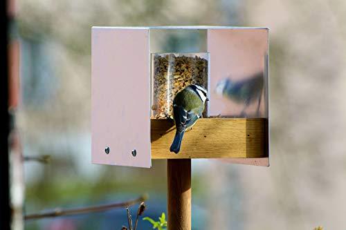 Luxus-Vogelhaus 46861e Eichenholz Vogelfutterhaus mit Ständer, Aluminiumdach, Futtertablett aus Eiche und Futtersilo - 10