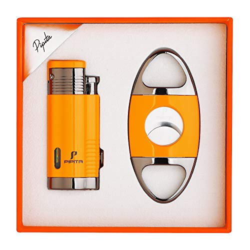 PIPITA Cigar Lighter and Cigar Cutter Set (2pcs/Set), Jet 3 Flame Cigar Lighter Torch and Cigar Cutter, Packing with Nice Gift Box (Yellow, Lighter+Cutter)