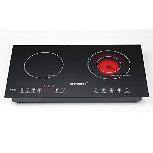 Zone à Double Induction de céramique HOB Cuisinière 2200W maculées ou Externe, en Verre Noir Chaud Plaque de Cuisson avec capteur Principal Touch Control, Double Electric Ceramic Stove