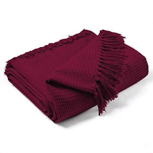 EHC Jumbo-Überwurf für 4-/5-Sitzer-Sofa/Kingsize-Bett, Waffeloptik, 100% Baumwolle, 254x380cm Wein
