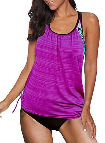 Aleumdr Womens Blouson Striped Printed Strappy T Back Push up Tankini Top with Shorts XX Large