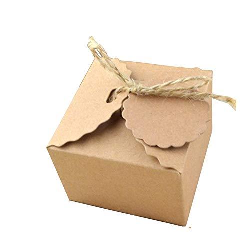 Anyasen 50 Stück Geschenkbox kraftpapier Kraftpapier Geschenkbox Geschenkschachtel Kraftpapier Kartonage mit Jute für Hochzeit Geschenk Vintage Gastgeschenk Verpackung (Braun) 6.5 x6.5 x4.5cm