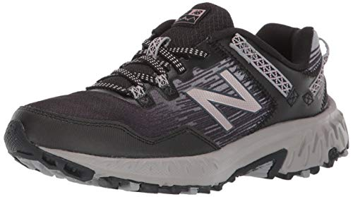 New Balance Women's 410 V6 Trail Running Shoe, Black/Magnet/Champagne Metallic, 8 W US