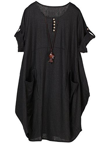 Minibee Women's Ruffle Oversize Casual Midi Dresses with Pockets (M, Black)