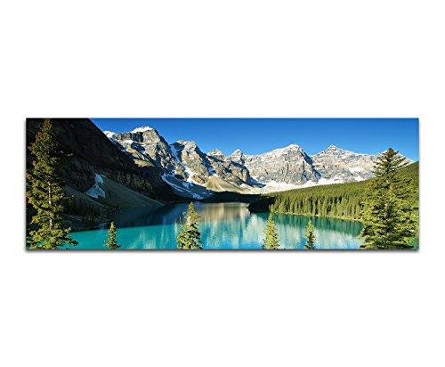 Paul Sinus Art Panoramabild auf Leinwand und Keilrahmen 150x50cm Nationalpark Berge Waldsee Bäume Schnee