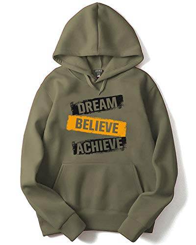 ADRO Dream Believe Achieve Printed Hoodie/Sweatshirt for Men & Women (Olive Green; M)