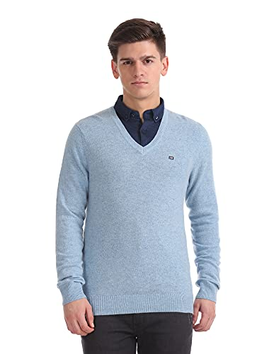 Arrow Sports Men's Notch Lapel Wool Sweater (ASWSW4223_Blue_Medium Fs)